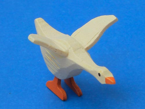 Wooden Goose German White Hand Carved Figurine