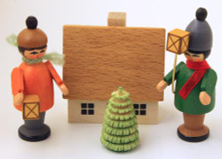 Wooden German Village Lantern Kid Set Figurine