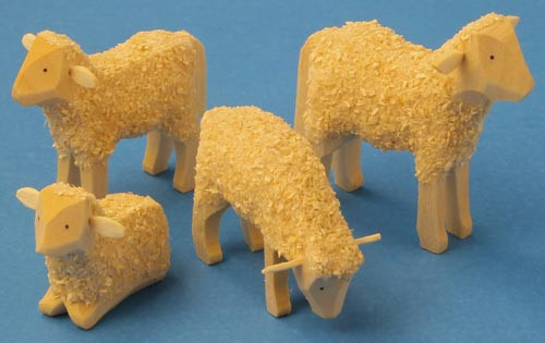 Wooden Sheep German Set of 4 Hand Carved Figurines