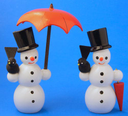Wooden German Snowmen Set Two with Umbrella Figurines