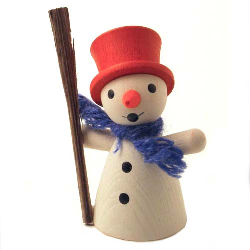 Wooden German Snowman Stick Figurine 45mm
