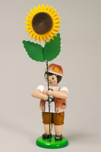 Brown Flower Boy Figurine