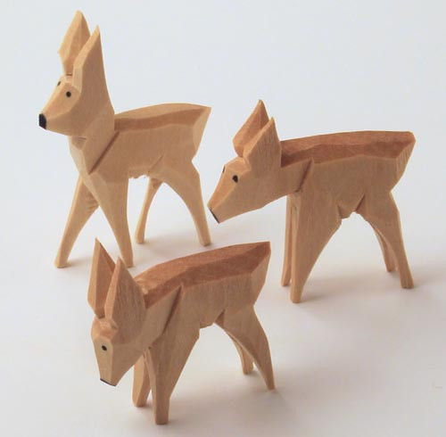 Wooden Deer German Hand Carved Figurine Set Three 45mm