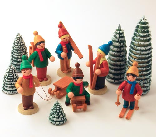 Wooden German Snow Kids Trees Figurines Handmade 11 Set