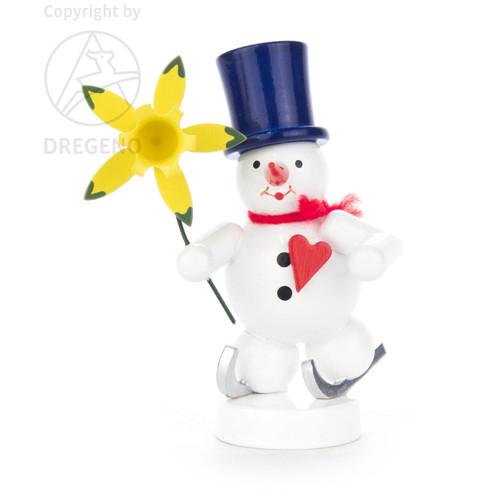 Wooden German Skating Snowman Figurine Flower 80mm