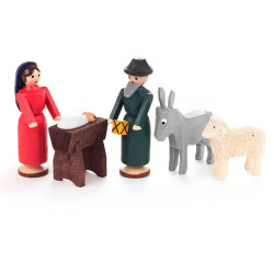Wooden German Nativity Set Sheep Donkey 45mm