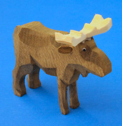 Wooden Moose Hand Carved German Figurine 50mm