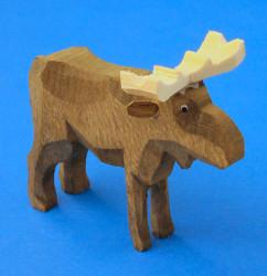 Wooden Moose Hand Carved German Figurine 50mm
