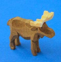Wooden Moose German Hand Carved Figurine 35mm