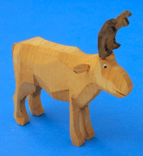 Wooden Reindeer Hand Carved German Figurine 9cm