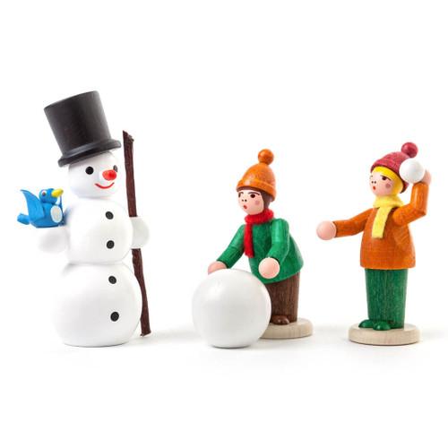 Kids and Snowman German Figurine