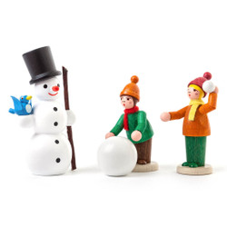 Kids and Snowman German Figurine