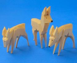 Natural Wooden German Deer Figurines 3 Set