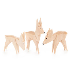 Natural Wooden German Deer Figurines 3 Set