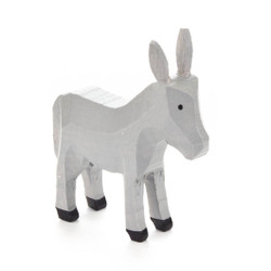 Wood Grey Donkey Hand Carved German Figurine