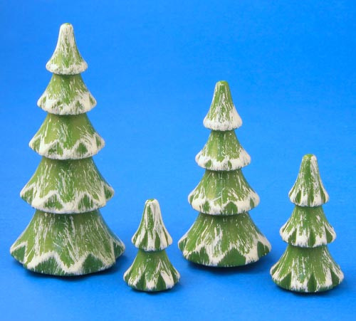 Green White Solid German Tree Figurine 4 Set