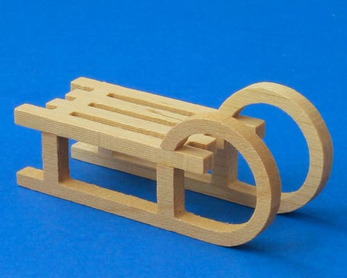 Wooden German Figurine Natural Sled