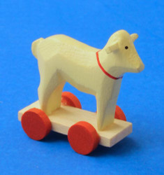 Wooden German Figurine Sheep on Wheels