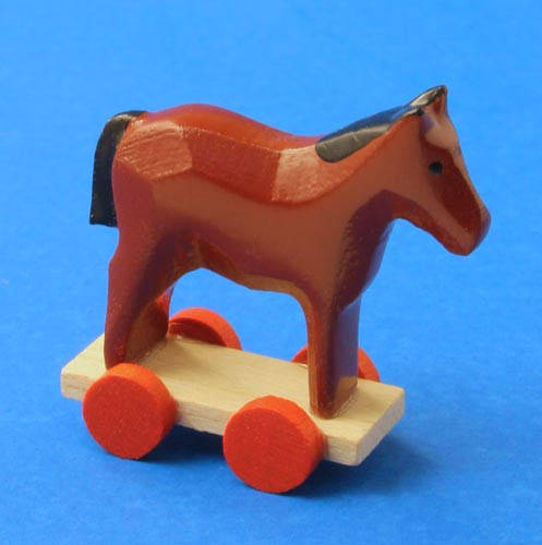 Wooden German Figurine Horse on Wheels