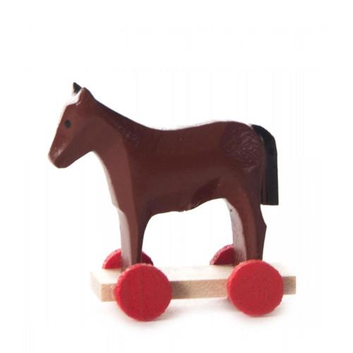 Wooden German Figurine Horse on Wheels