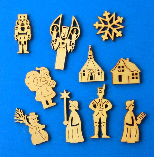 German Figurine Wooden MINI Set 10 Tiny Cut Outs  WS