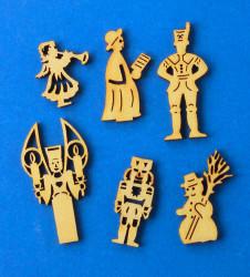 German Figurine Wooden MINI Set 6 Tiny Cut Outs WA