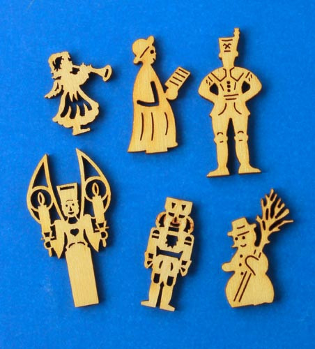 German Figurine Wooden MINI Set 6 Tiny Cut Outs WA