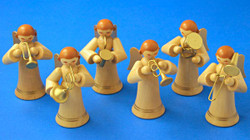 German Figurine Wooden Natural Musical Angels