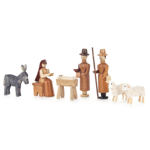 German Figurine Wooden Sm Nativity Set