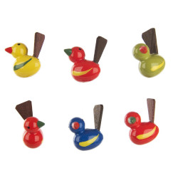 German Tiny Birds Figurine Wood 6 Set RP198X084