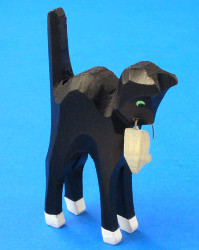 German Figurine Wooden Cat with Mouse Hand Carved