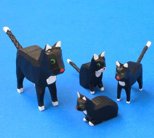 German Figurine Wooden Set 4 Cats