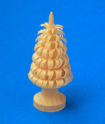 German Figurine Wooden Shaved Tree on Stand