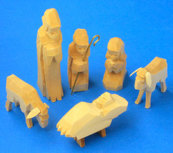 Nativity Hand Carved Creche German Figurine Wooden Set of 6