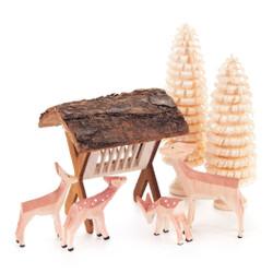 German Figurine Wooden Deer Feeder Set of 7