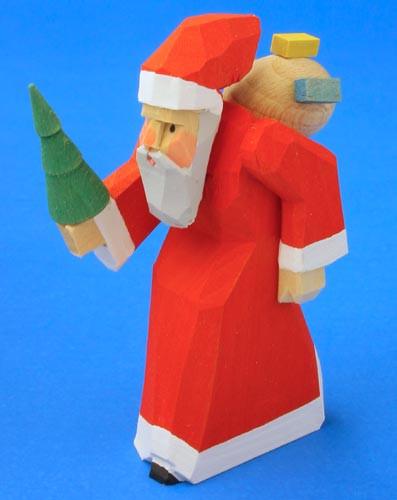 Hand Carved Santa German Tree Figurine Wooden 75mm