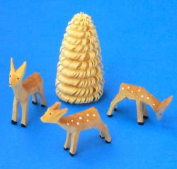 Hand Carved 3 Deer Fawn Tree German Figurine Wooden