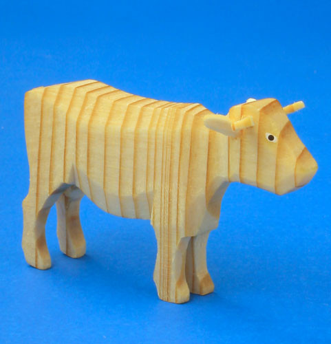 Hand Carved Cow Wooden Natural German Figurine