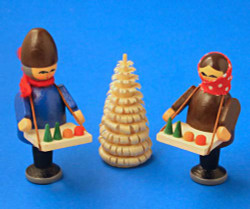 Wooden German Village Market Kids with Tree Figurine