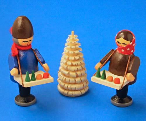 Wooden German Village Market Kids with Tree Figurine