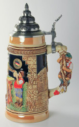 German Child Men Waitress Cobalt Beer Stein K300xBSx3