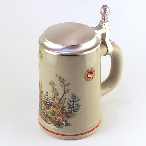 Doe Deer Wilderness Scene German Beer Stein