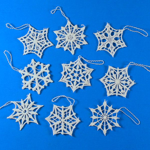 Nine Lace Christmas Snowflake Ornaments ORXBW8K