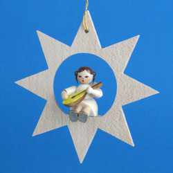 Star Angel Mandolin Christmas German Ornament ORR013X34M