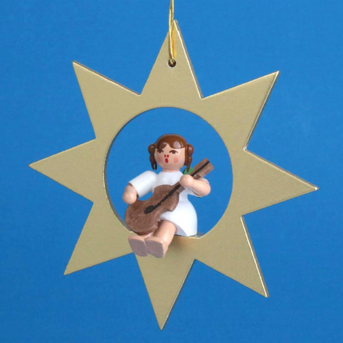 Gold Star Angel Guitar Christmas German Ornament ORR013X31G