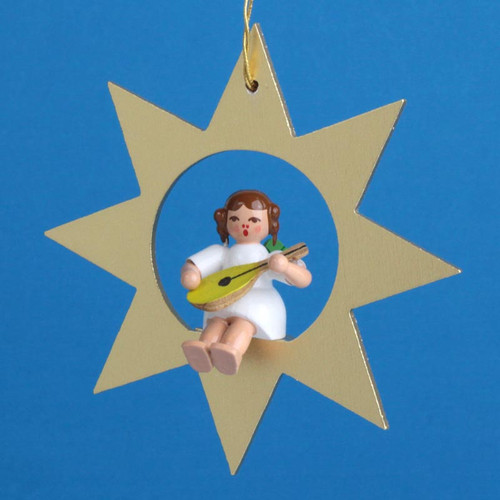 Gold Star Angel Mandolin Christmas German Ornament ORR013X31M