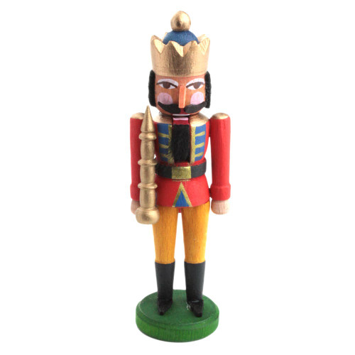Mini Nutcracker King Red Coat Blue Gold Crown NCD074X035RB