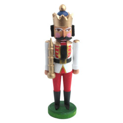 Mini Nutcracker King White Tunic Gold Crown NCD074X035W