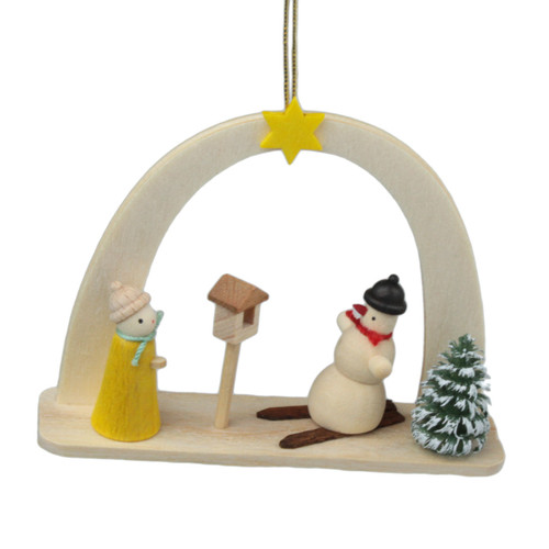 Arch Snowman Bird German Ornament ORD199X443X6