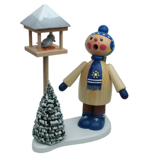 Winter Kid with Bird Feeder German Smoker SMD146X1658
